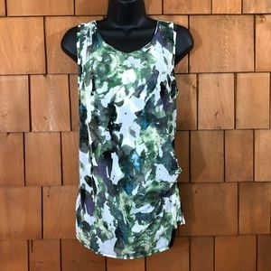 Simply Vera Vera Wang Gr/White abstract tunic tank